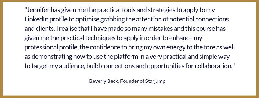 Beverly Beck Testimonial for LinkedIn Profile Success