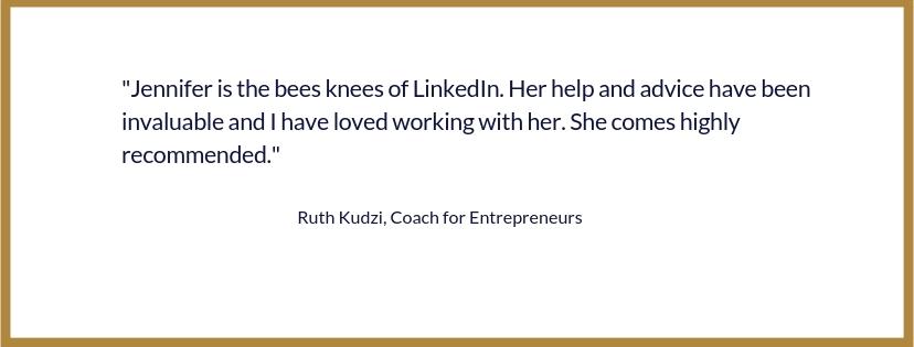 Ruth Kudzi Testimonial LinkedIn 121 Strategy Session