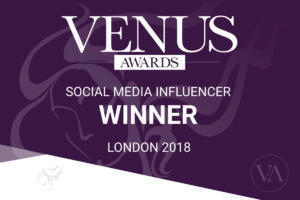 Winner Badge Social Media Influencer Category Venus Awards London 2018
